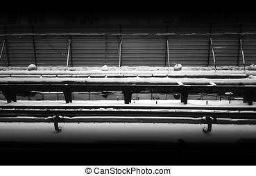 horisontal, svartvitt, järnväg, konstruktion under, bakgrund