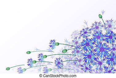 horisontal, vektor, kort, med, bluebottles