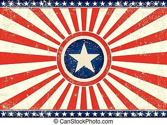 horisontale, flag, stjerne, sunbeams, os