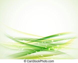 horisontale, grønnes abstrakte, bølgede, baggrund, hos, gnistre, og, glitre, formgiv elementer