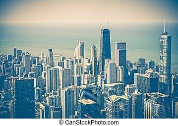 horizon, aérien, chicago