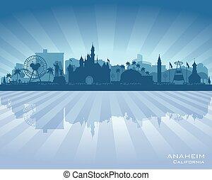 horizon, anaheim, silhouette, ville, vecteur, californie