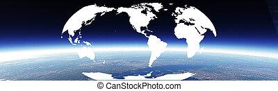 Horizon and world banner - Horizon and world map. World map...