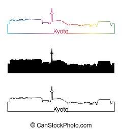 horizon, arc-en-ciel, style, linéaire, kyoto