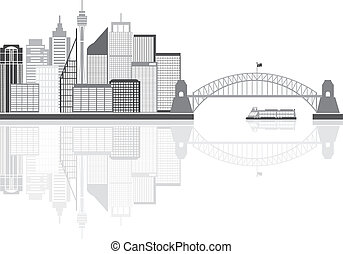 horizon, australie, grayscale, sydney, illustration
