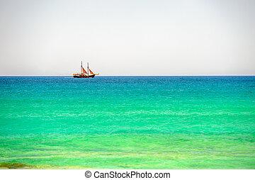 horizon, bateau, voile, mer