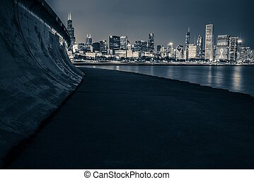 horizon, chicago, nuit