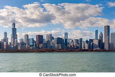 horizon, chicago, skyscrapers., michigan, lac, absolutely, abrutissant, vue