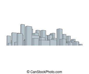 horizon, city., résumé, town., industriel, paysage, vecteur, illustration