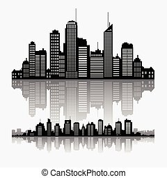 horizon, cityscape, buidlings, vecteur, reflet