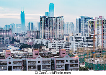 horizon, coucher soleil, ville, shenzhen., district, china., time.