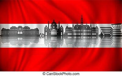 horizon, drapeau autriche, vienne