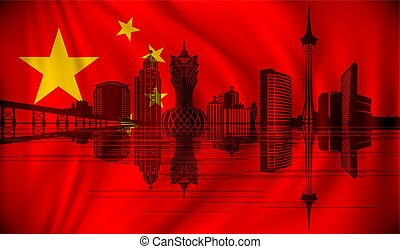 horizon, drapeau chine, macau