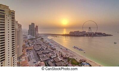 horizon, front mer, jumeirah, yacht, coucher soleil, présentation, résidence, timelapse, jbr, aérien, bateaux, plage