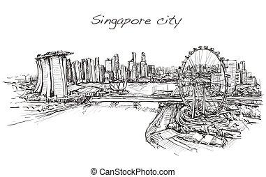 horizon, gratuite, illustration, ville singapour, croquis, vecteur, scape, main, dessiner