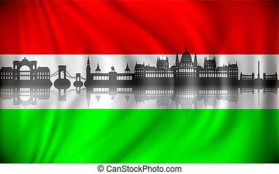horizon, hongrie, budapest, drapeau