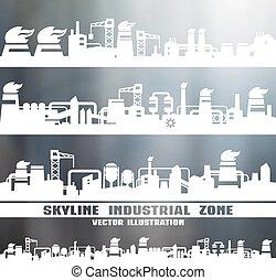 horizon, industriel, ensemble