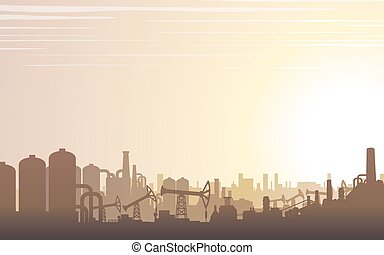 horizon industriel, paysage., vecteur
