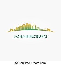 horizon, johannesburg, afrique, sud, silhouette.