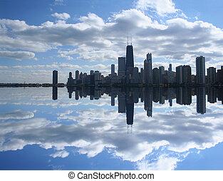 horizon, lac, reflété, chicago
