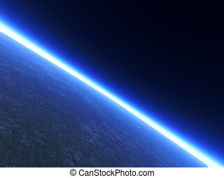Horizon Line - A Planets Horizon line viewed from space. 3D...