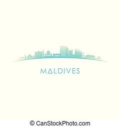 horizon, maldives, silhouette.