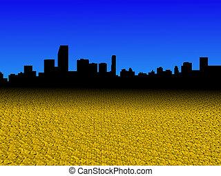 horizon miami, à, doré, dollar, pièces, premier plan, illustration