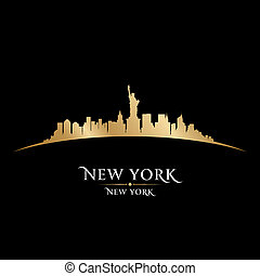 horizon new york, silhouette, arrière-plan noir