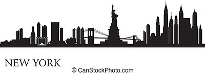 horizon new york, silhouette, fond