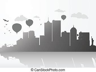 horizon, nouveau, ville, york