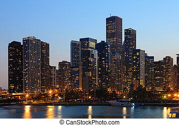 horizon, nuit, vue, chicago