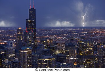horizon, orage, chicago