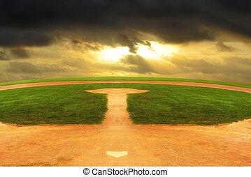 horizon, regarder, champ base-ball, courbé, dehors, interminable