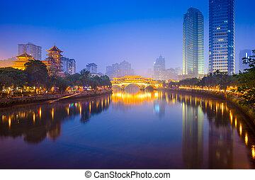 horizon, rivière, chengdu