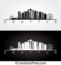 horizon, seattle, silhouette