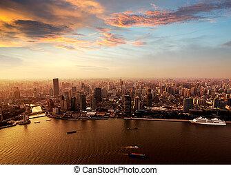 horizon, shanghai, coucher soleil, pudong