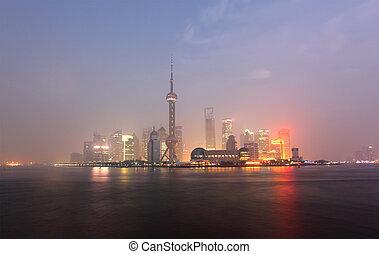 horizon, shanghai, porcelaine, pudong, night.