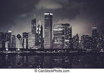 horizon, temps, chicago, nuit