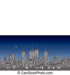 horizon, urbain, bâtiments, gratte-ciel
