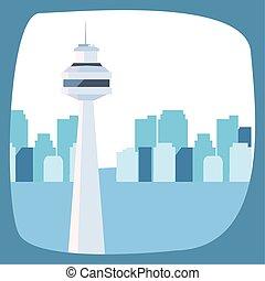 horizon urbain, gratte-ciel, fond, ville