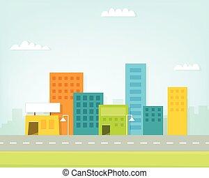 horizon ville, dessin animé, coloré
