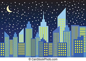 horizon ville, gratte-ciel, nuit