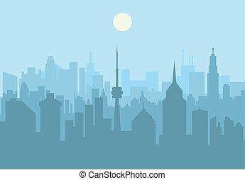 horizon ville, jour