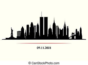 horizon ville, jumeaux, tower., new york