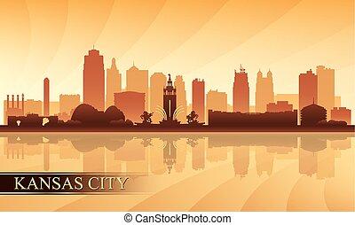 horizon ville, kansas, silhouette, fond