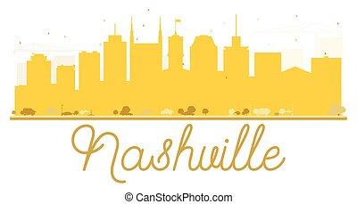 horizon ville, nashville, doré, silhouette.