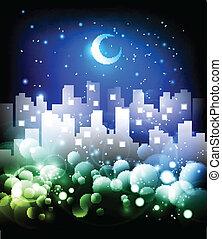 horizon ville, résumé, fond, nuit