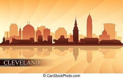 horizon ville, silhouette, fond, cleveland