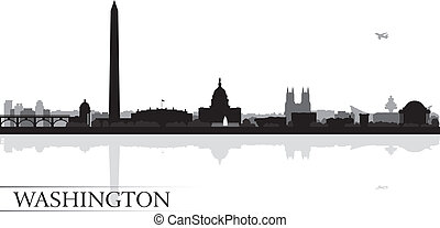 horizon ville, silhouette, fond, washington