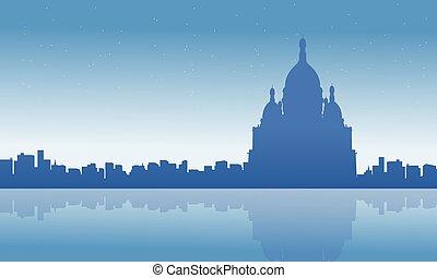 horizon ville, silhouettes, paysage, france